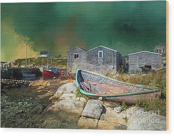 Peggy's Cove Wood Print by Eva Lechner