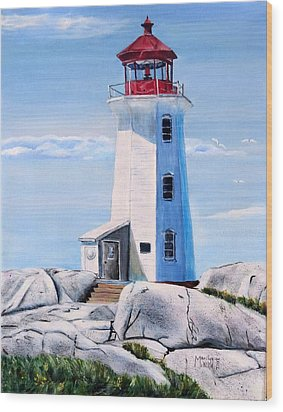 Wood Print featuring the painting Peggy's Cove Lighthouse by Marilyn  McNish