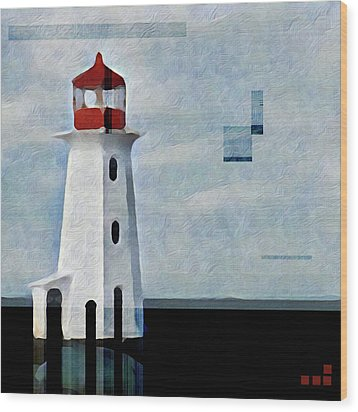Wood Print featuring the mixed media Peggys Cove Lighthouse Painterly Look by Carol Leigh