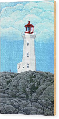 Peggy's Cove Lighthouse Painting Wood Print by Frederic Kohli