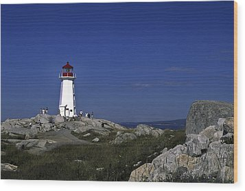 Peggy's Cove Lighthouse Wood Print by Sally Weigand