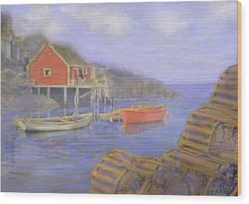 Peggy's Cove Lobster Pots Wood Print by Ian  MacDonald