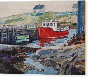 Peggys Cove Wood Print by Michael McDougall