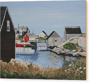 Peggys Cove Nova Scotia Wood Print by Betty-Anne McDonald