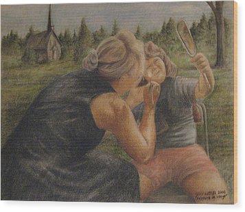 Peinture De Visage Wood Print