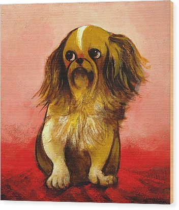 Pekinese Wood Print by Christine McGinnis
