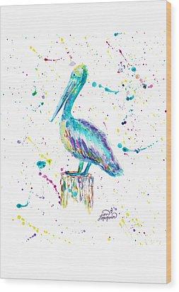 Pelican By Jan Marvin Wood Print
