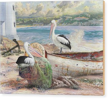 Wood Print featuring the digital art  Pelican Cove by Trudi Simmonds