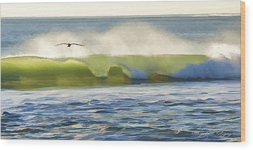 Pelican Flying Over Wind Wave Wood Print by John A Rodriguez