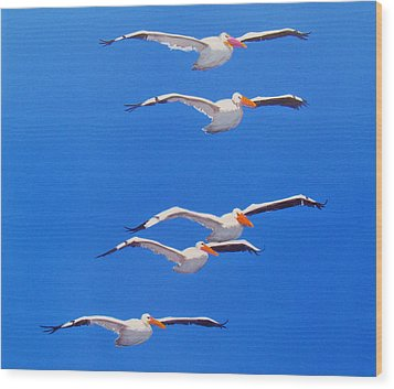 Pelican Friends Wood Print by Anne Marie Brown