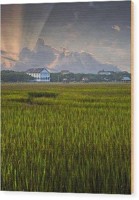 Pelican Inn Sunrise Wood Print by Ginny Horton