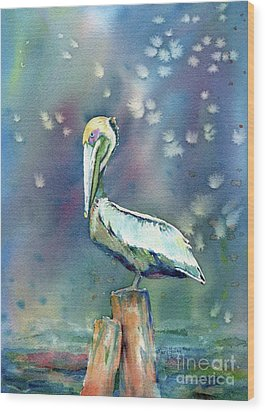 Pelican Wood Print by Mary Haley-Rocks