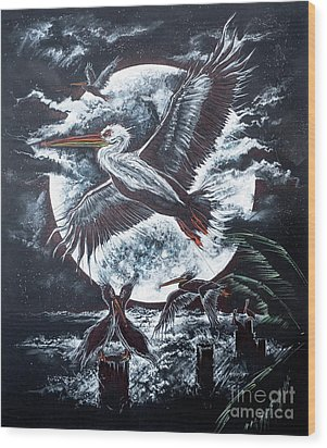 Pelican Moon Wood Print by Scott and Dixie Wiley