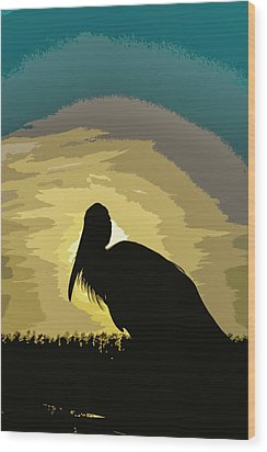 Pelican Paint Wood Print by Josy Cue