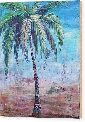Pelican Palm I Wood Print by Kristen Abrahamson