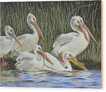 Pelican Parade Wood Print