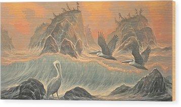 Pelican Paradise Wood Print by Marte Thompson