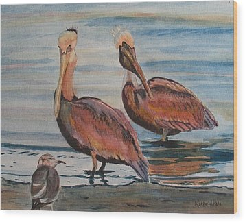 Wood Print featuring the painting Pelican Party by Karen Ilari