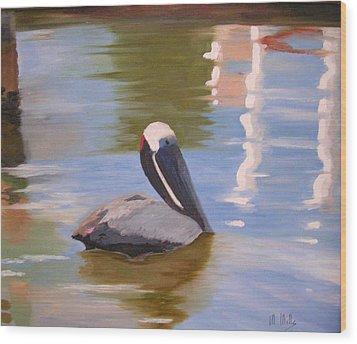Pelican Pete Wood Print