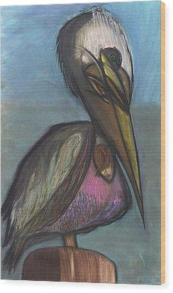 Pelican Wood Print by Stu Hanson