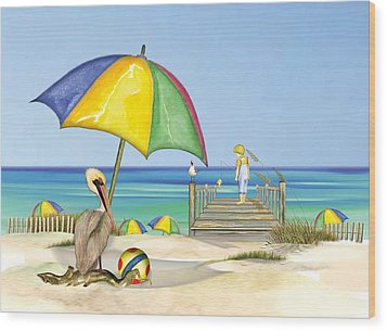 Pelican Under Umbrella Wood Print