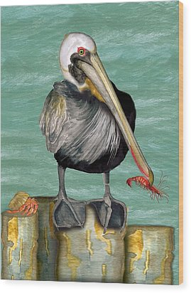Wood Print featuring the painting Pelican With Shrimp by Anne Beverley-Stamps