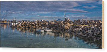 Pelicans At Eden Wharf Wood Print by Racheal  Christian