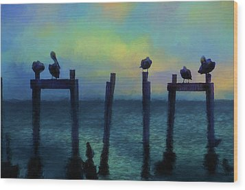 Wood Print featuring the photograph Pelicans At Sunset by Jan Amiss Photography