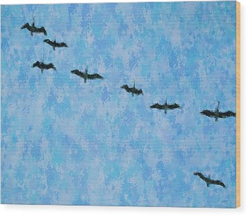 Pelicans' Flight Wood Print by Cheryl Waugh Whitney