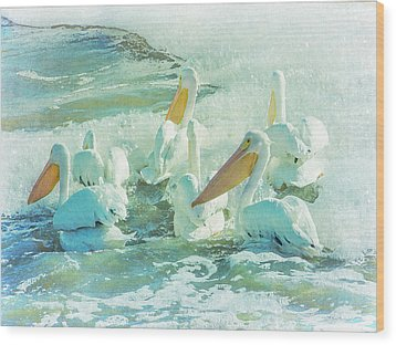 Pelicans On The Tide Wood Print