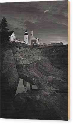 Pemaquid Lighthouse At Dawn Black And White Wood Print