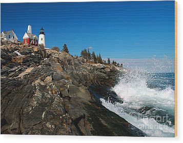 Pemaquid Point Lighthouse - Seascape Landscape Rocky Coast Maine Wood Print by Jon Holiday