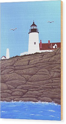 Pemaquid Point Lighthouse Painting Wood Print by Frederic Kohli