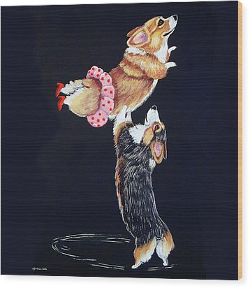 Pembroke Welsh Corgi Her Red Shoes Wood Print by Lyn Cook