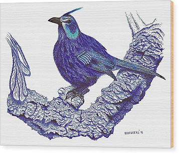 Pen And Ink Drawing Of Blue Bird Wood Print by Mario Perez