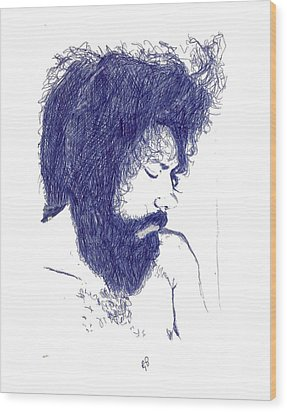 Pen Portrait Wood Print by Ron Bissett