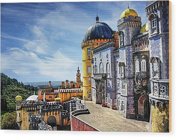 Wood Print featuring the photograph Pena Palace In Sintra Portugal  by Carol Japp