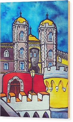 Wood Print featuring the painting Pena Palace In Sintra Portugal  by Dora Hathazi Mendes