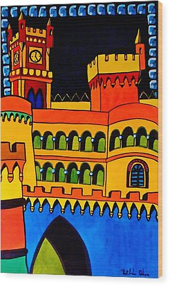 Wood Print featuring the painting Pena Palace Portugal by Dora Hathazi Mendes