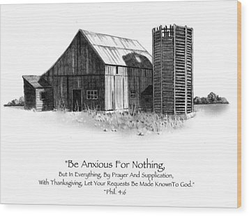 Pencil Drawing Of Old Barn With Bible Verse Wood Print by Joyce Geleynse