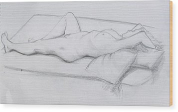 Wood Print featuring the drawing Pencil Sketch 1.2011 by Mira Cooke