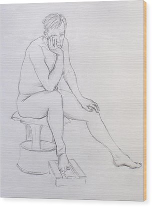 Wood Print featuring the drawing Pencil Sketch 2    2.2011 by Mira Cooke
