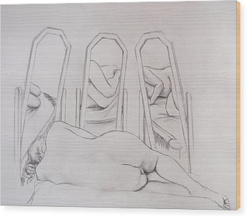 Wood Print featuring the drawing Pencil Sketch 2   March 2011 by Mira Cooke