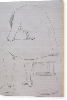 Wood Print featuring the drawing Pencil Sketch March 2011 by Mira Cooke