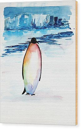 Penguin 2 Wood Print by Carolyn Doe