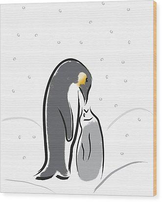 Penguin Feeding Wood Print