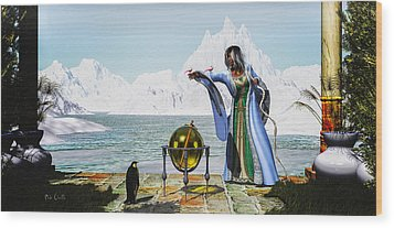 Penguin Magic And The Winter Witch Wood Print by Bob Orsillo