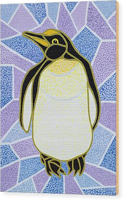Penguin On Stained Glass Wood Print by Pat Scott