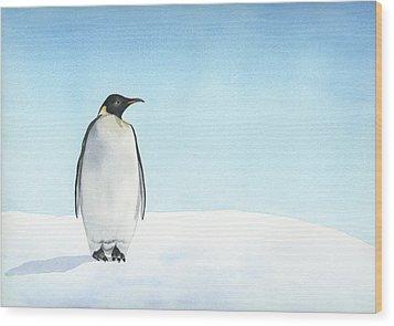Penguin Watercolor Wood Print by Taylan Apukovska