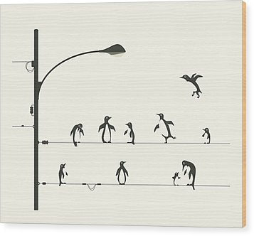 Penguins On A Wire Wood Print by Jazzberry Blue